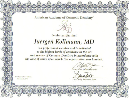 Membership American Academy of Cosmetic Dentistry