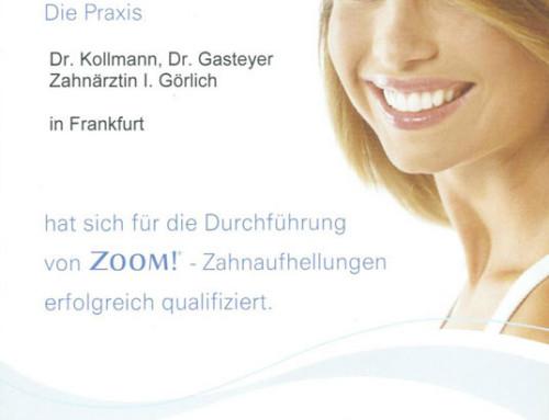 Zertifikat »ZOOM!-Zahnaufhellungen«